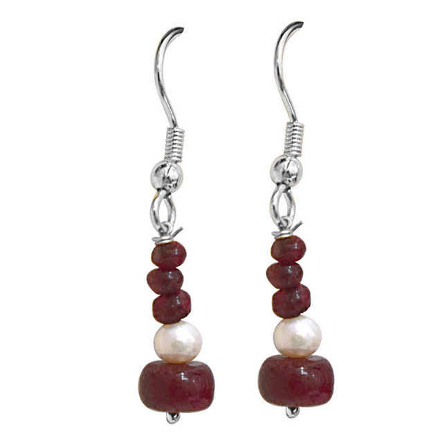 Real Dark Red Ruby Beads & Freshwater Pearl Silver Plated Hanging Earrings for Women (SE350)