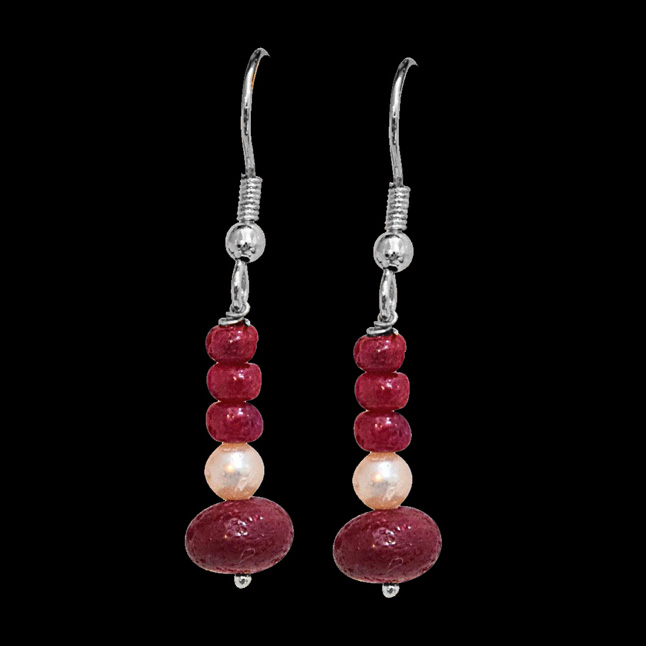 Real Bright Red Ruby Beads & Freshwater Pearl Silver Plated Hanging Earrings for Women (SE351)