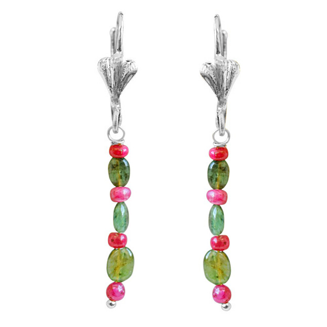 Real Red Ruby Beads & Green Oval Emerald Hanging Earrings for Women (SE352)