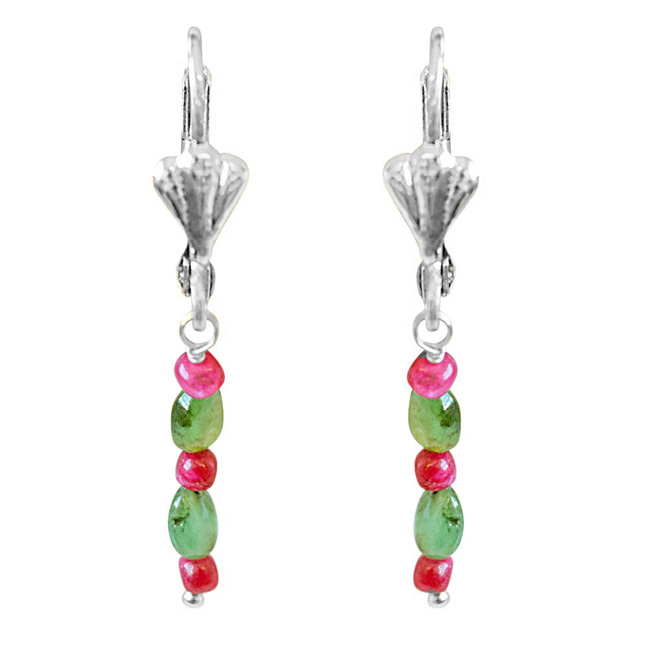 Real Red Ruby Beads, Green Oval Emerald & Silver Plated Hanging Earrings for Women SE353