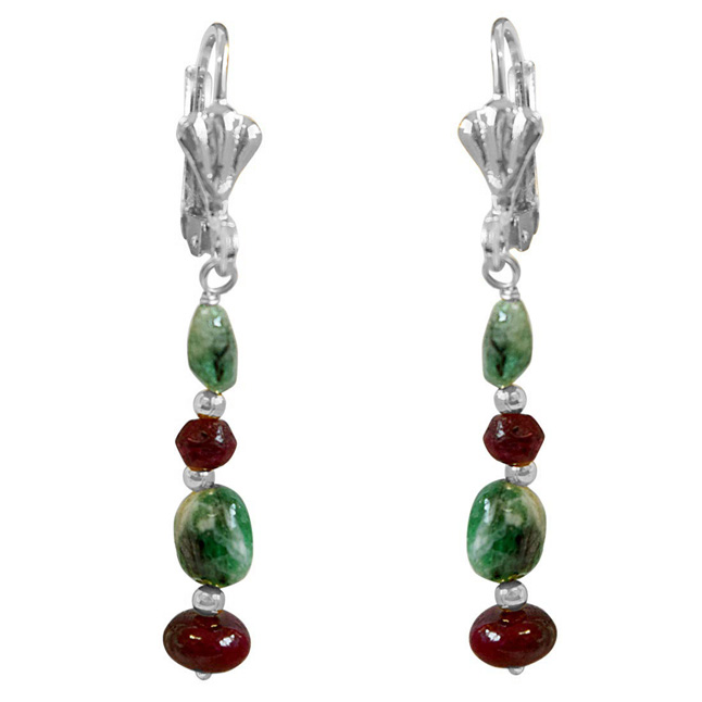 Real Oval Green Emerald, Red Ruby & Silver Plated Beads Hanging Earrings for Women (SE354)