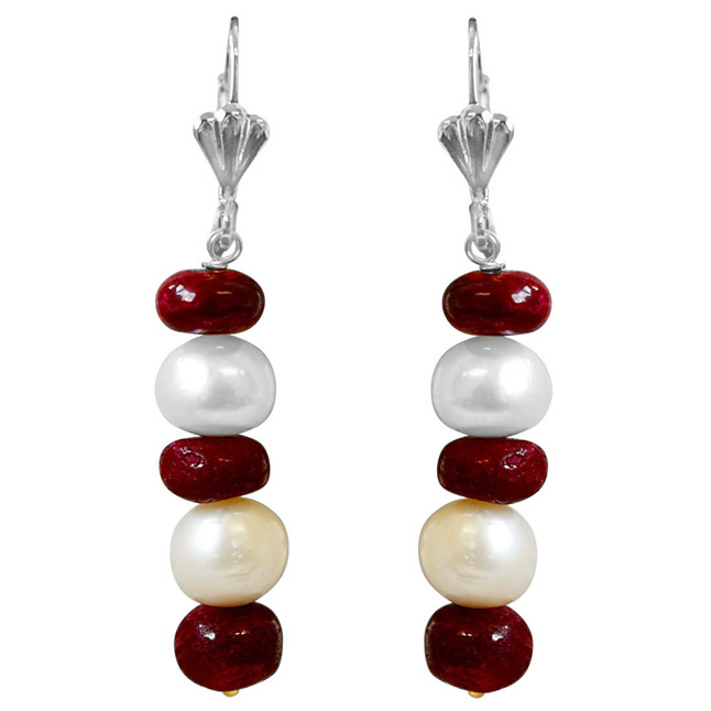Real Big Ruby Beads and Freshwater Pearl Silver Plated Hanging Earrings for Women (SE355)