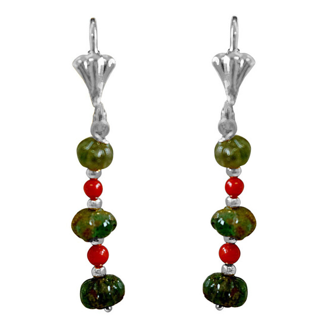 Real Emerald beads and Coral Beads Silver Plated Hanging Earrings for Women (SE356)