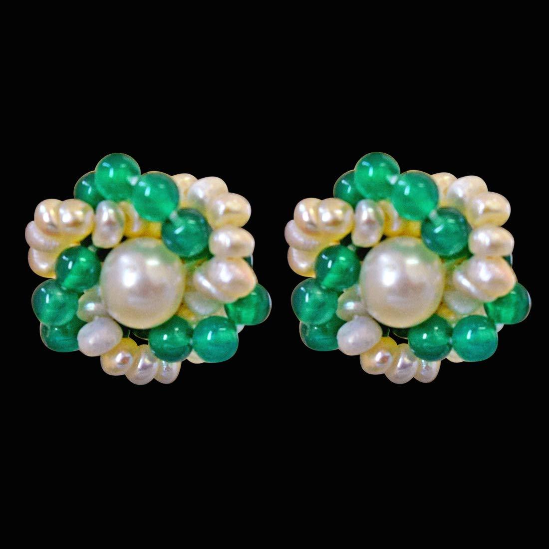 Wonder Girl - Traditional Real Freshwater Pearl, Green Onyx & Gold Plated Kuda Jodi Earrings for Women (SE35)