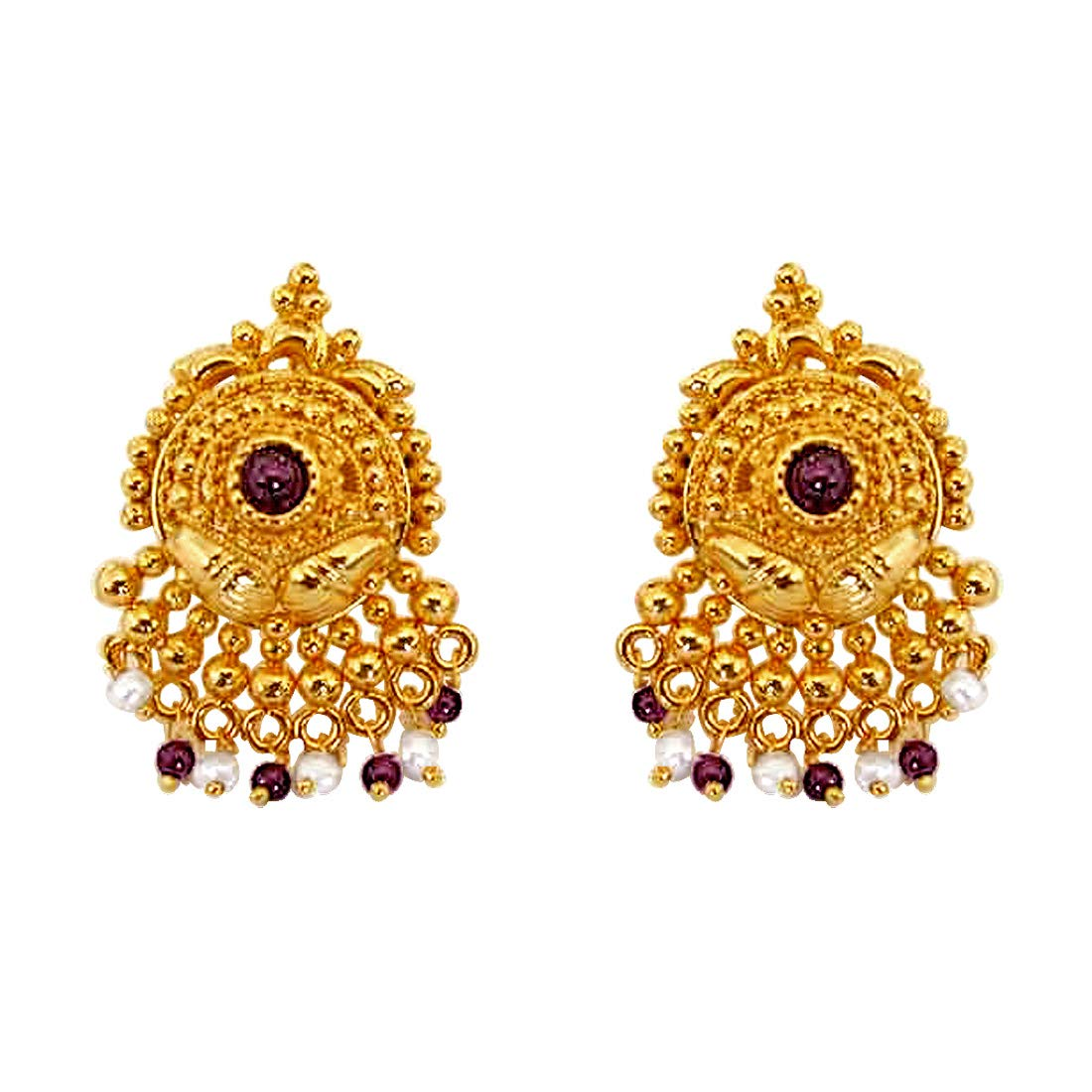 Garnet Grace - Temple Design Real Freshwater Pearl, Red Garnet & Gold Plated Earrings for Women (SE36)