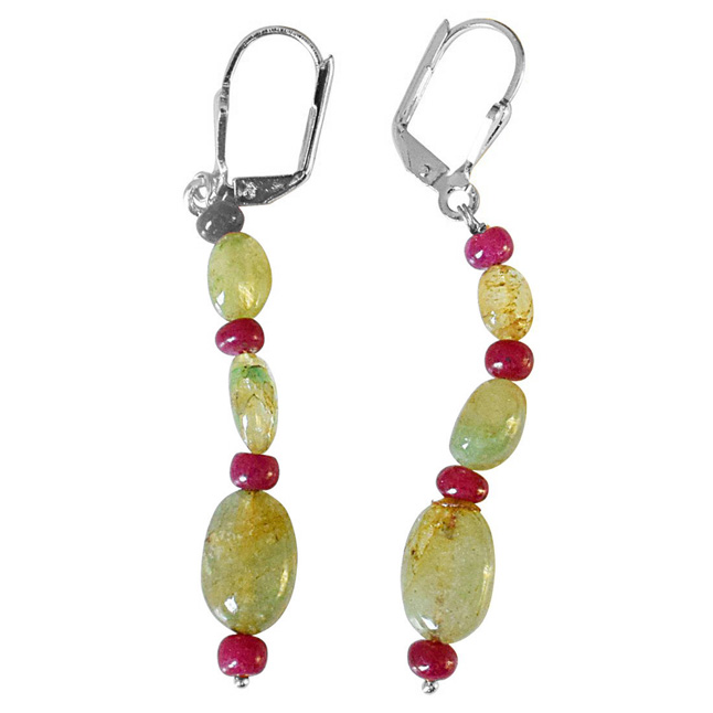 Real Oval Emerald and Ruby Beads Silver Plated Flower Shaped Hanging Earrings for Women (SE360)