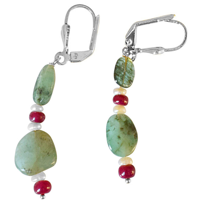 Real Oval Emerald, Ruby Beads and Freshwater Pearl Silver Plated Flower Shaped Hanging Earrings for Women (SE361)
