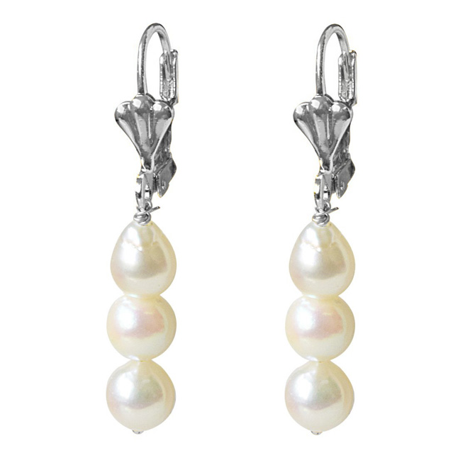 Real Natural Cultured Pearl and Flower Shaped Silver Plated Hanging Earrings for Women (SE362)