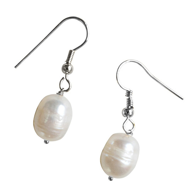 Real Elongated Freshwater Pearl & Silver Plated Wire Style Hanging Earrings (SE364)