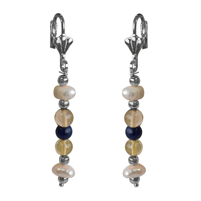 Blue Lapiz, Citrin, Natural Freshwater Pearls and Silver Plated Bead Hanging Earrings for Women (SE365)
