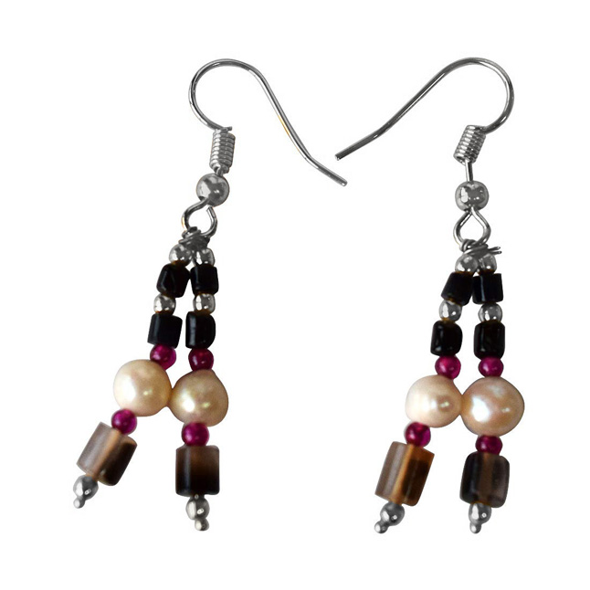 Black Onyx, Red Garnet, Silver Plated Beads and Freshwater Pearls Hanging Earrings for Women (SE366)