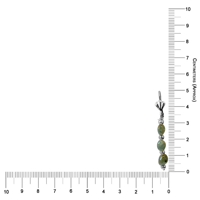 Real Natural Oval Emerald & Silver Plated Beads Earring (SE367)