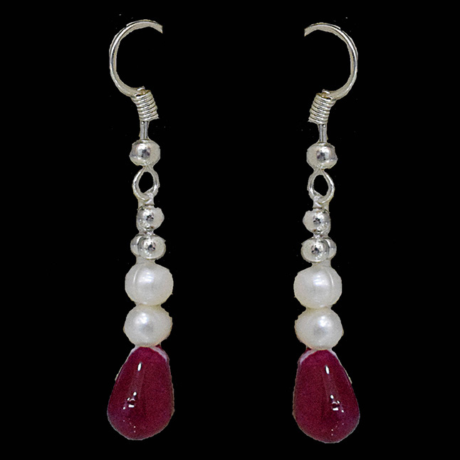 Precious Gem Collection Silver Plated Metal Freshwater Pearl Ruby Dangling Earring