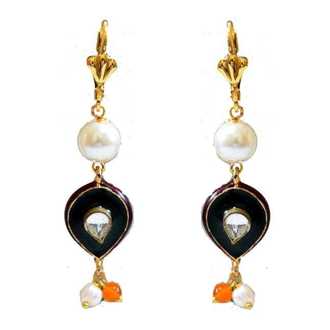 Ethnic Collection Gold Plated Metal Shell Pearl Colored Stone Hanging Earring
