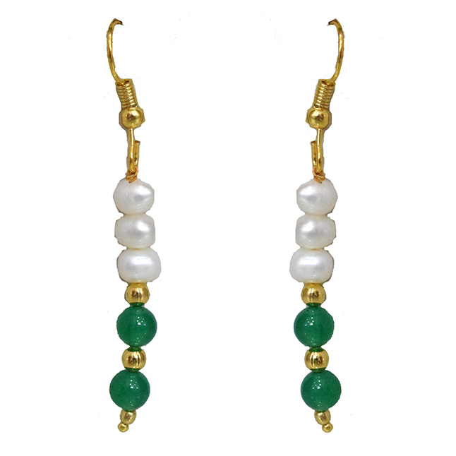 Real Freshwater Pearl, Green Onyx & Gold Plated Beads Wire Earring
