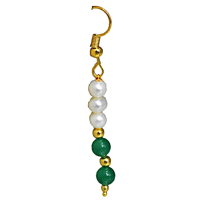 Real Freshwater Pearl, Green Onyx & Gold Plated Beads Wire Earring (SE372)