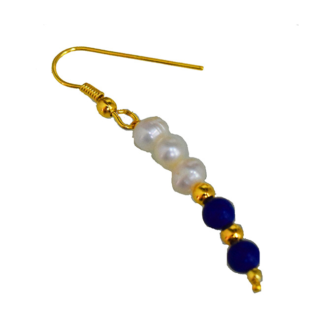 Real Freshwater Pearl, Lapiz Beads & Gold Plated Beads Wire Earring