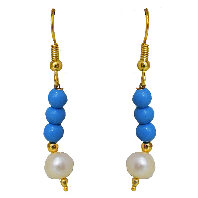 Dangling Turquoise Beads, Freshwater Pearl & Gold Plated Beads Wire Earring