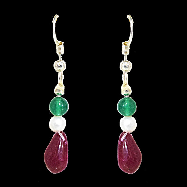Silver Plated Metal Freshwater Pearl Ruby Onyx Hanging Earring
