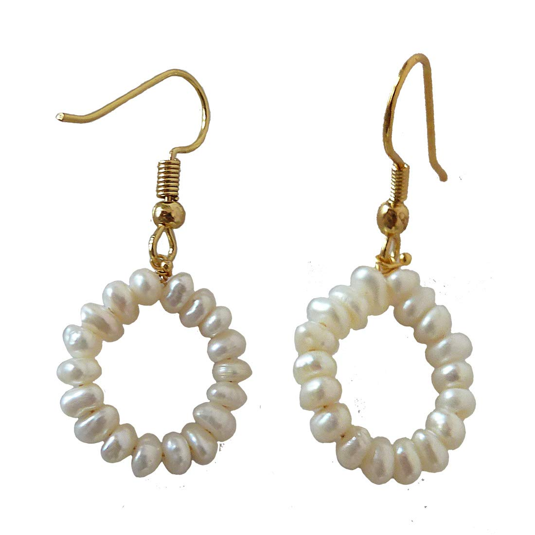 Dangling Circular Real Freshwater Pearl and Gold Plated Wire Style Earrings (SE379)