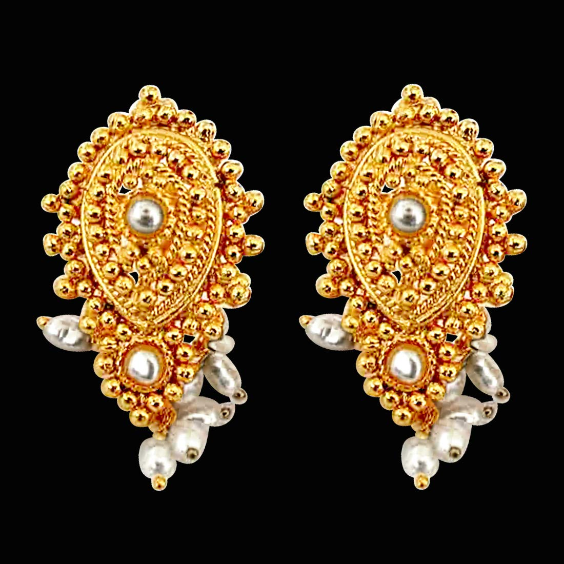 Mystifying Magnificent - Real Freshwater Pearl & Gold Plated Drop Shaped Earrings for Women (SE37)