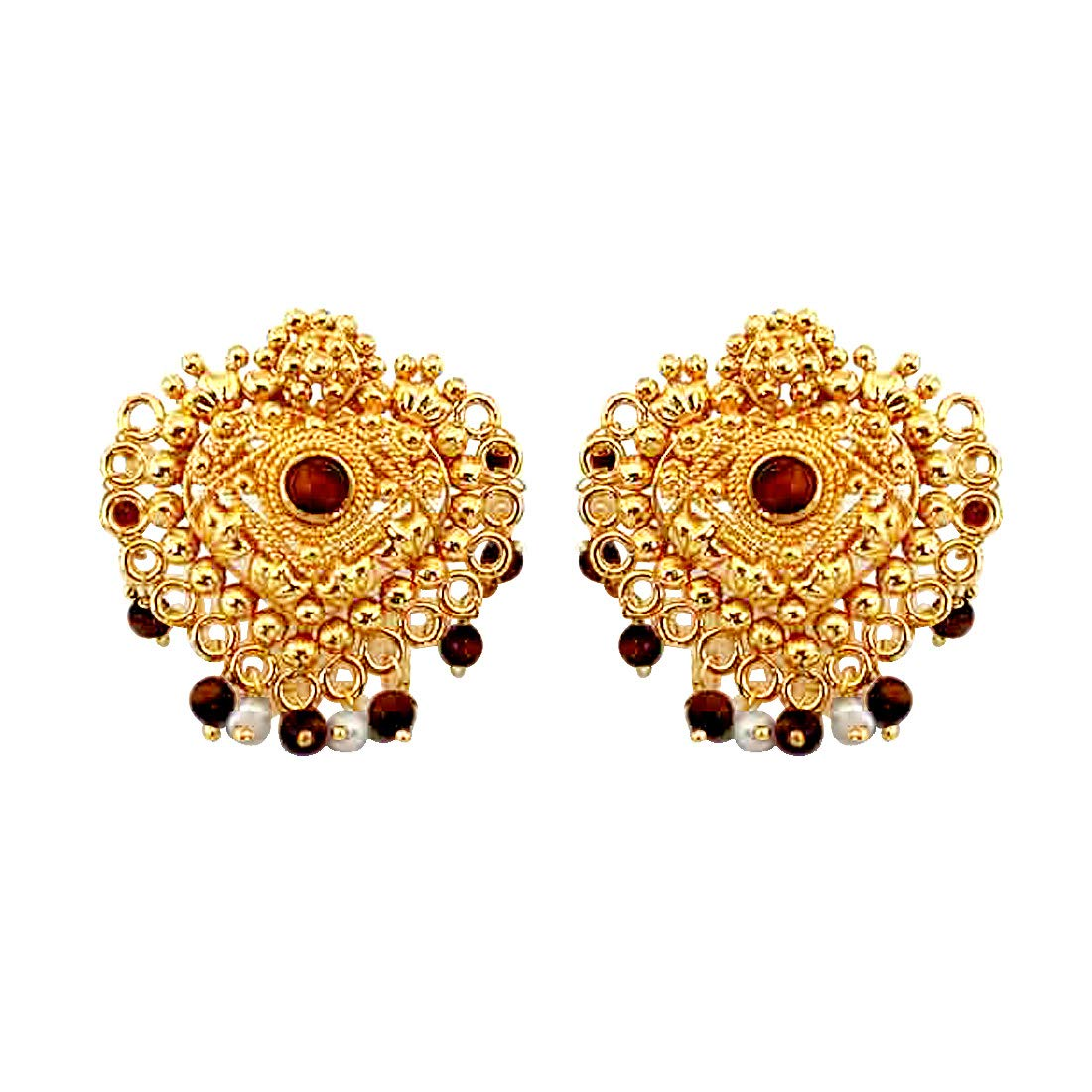 Bewildering Blingers - Temple Design Real Freshwater Pearl, Brown Tiger Eye & Gold Plated Earrings for Women (SE38)