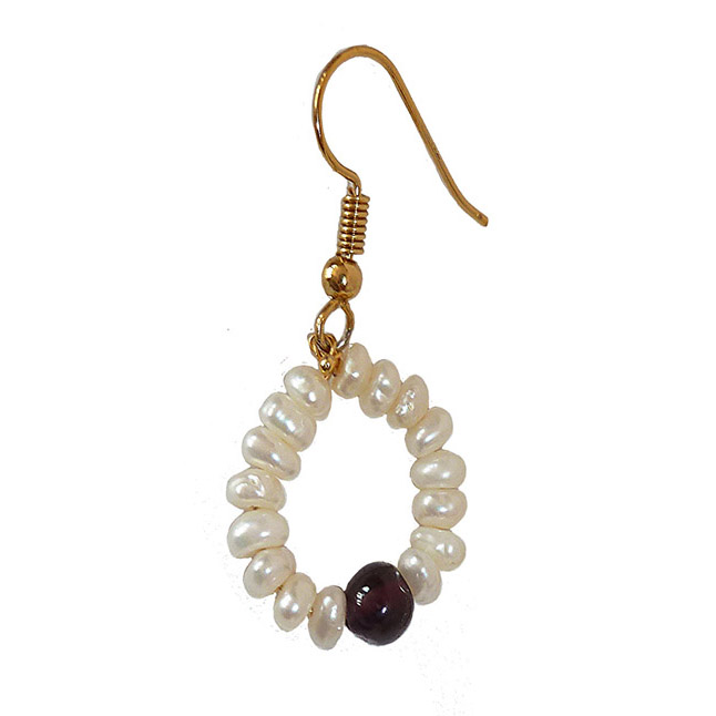 Dangling Circular Garnet Beads, Freshwater Pearl and Gold Plated Wire Style Earrings(SE381)