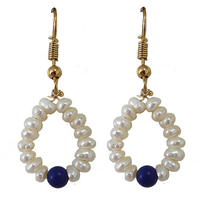 Dangling Circular Blue Lapiz Beads, Freshwater Pearl and Gold Plated Wire Style Earrings(SE382)