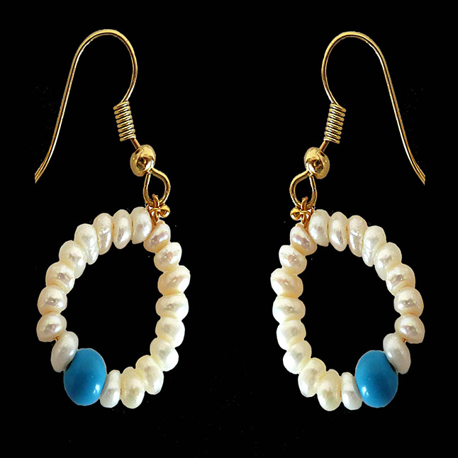 Dangling Circular Turquoise Beads, Freshwater Pearl and Gold Plated Wire Style Earrings (SE383)
