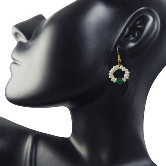 Dangling Circular Green Onyx Beads, Freshwater Pearl and Gold Plated Wire Style Earrings(SE384)
