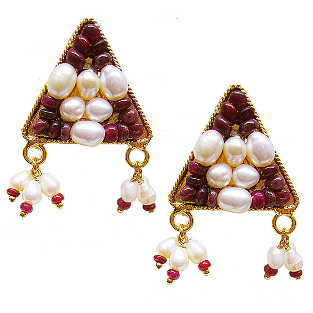 Gold Plated Metal Rice Pearl Ruby Stud Earrings (SE385)