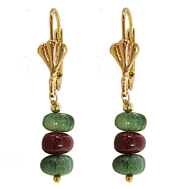 Gold Plated Metal Emerald Ruby Hanging Earrings (SE386)