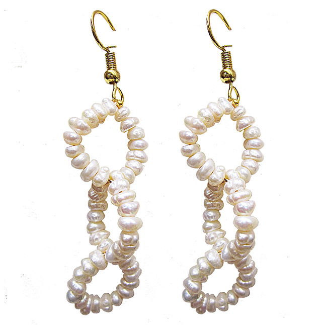 Dangling Real Freshwater Pearl and Gold Plated Wire Style Earrings (SE387)