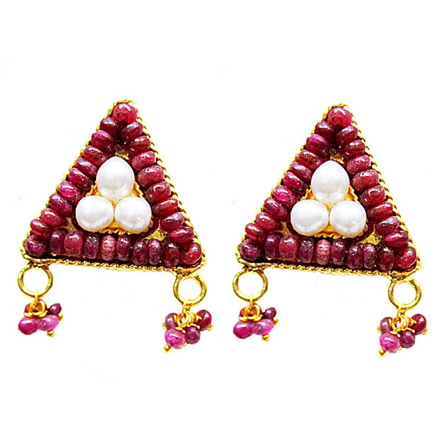 Gold Plated Metal Freshwater Pearl Ruby Stud Earrings (SE388)