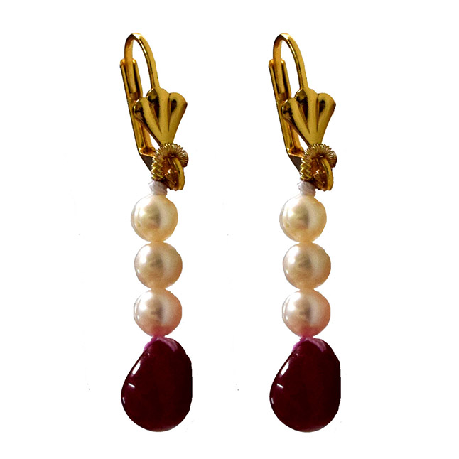 Multicolour Gold Plated Real Ruby Drop and Freshwater Pearl Earrings(SE389)