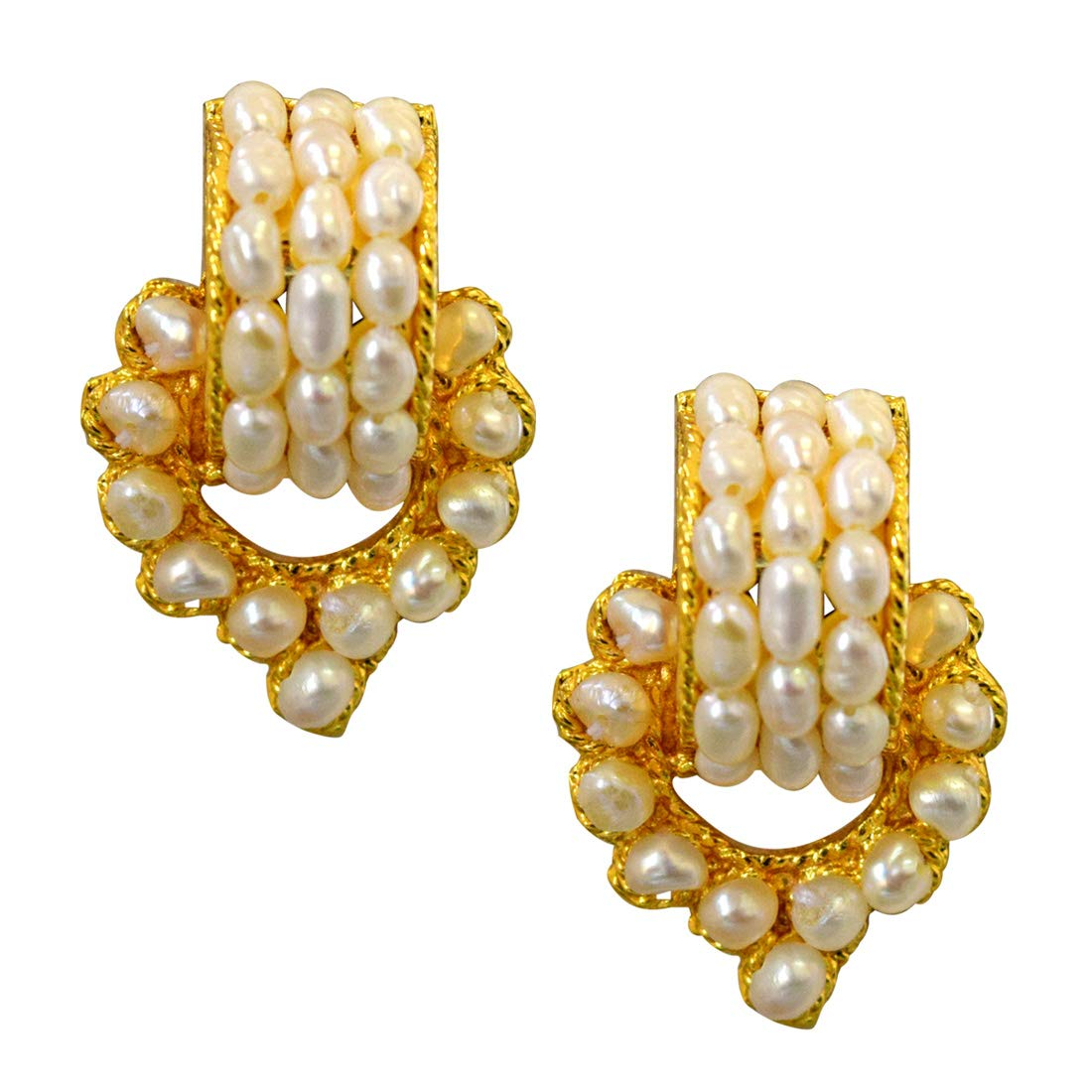 Geometric Magic - Real Freshwater Pearl & Gold Plated Geometrical Shaped Earring for Women (SE40)