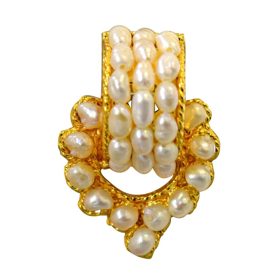 Geometric Magic - Real Freshwater Pearl & Gold Plated Geometrical Shaped Earring for Women (SE40)