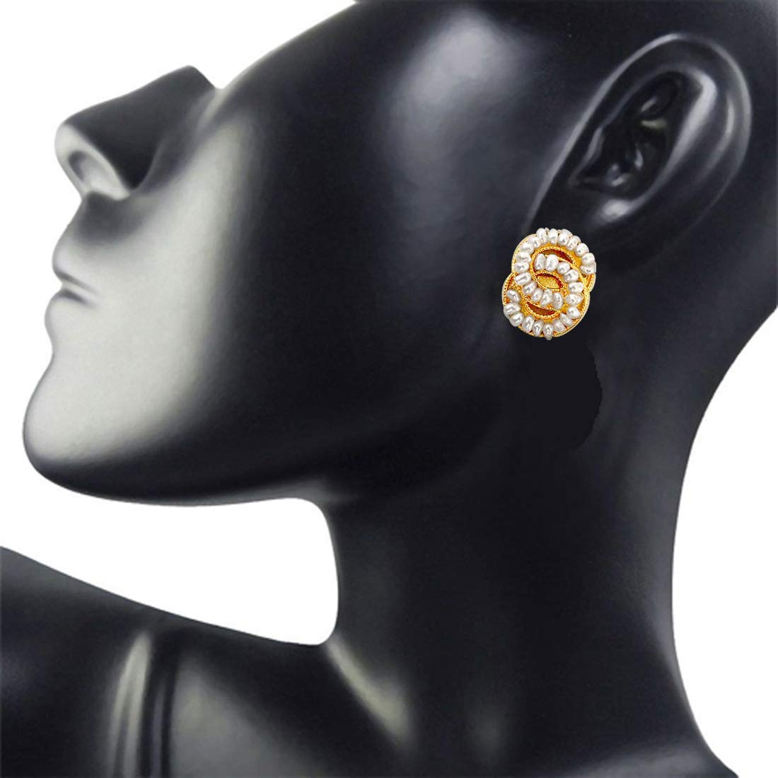 Lovers Knot - Freshwater Pearl & Gold Plated Stud Earrings for Women (SE41)