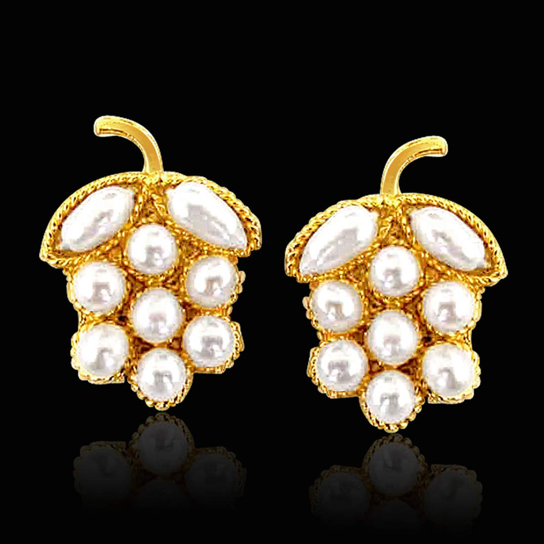 Lustrous Pearl Present - Real Freshwater Pearl & Gold Plated Grapes Shaped Earring for Women (SE42)