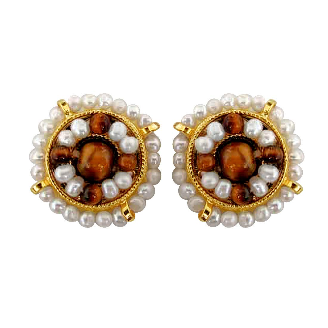 You're My World - Freshwater Pearl, Tiger Eye & Gold Plated Kuda Jodi Earrings for Women (SE43)