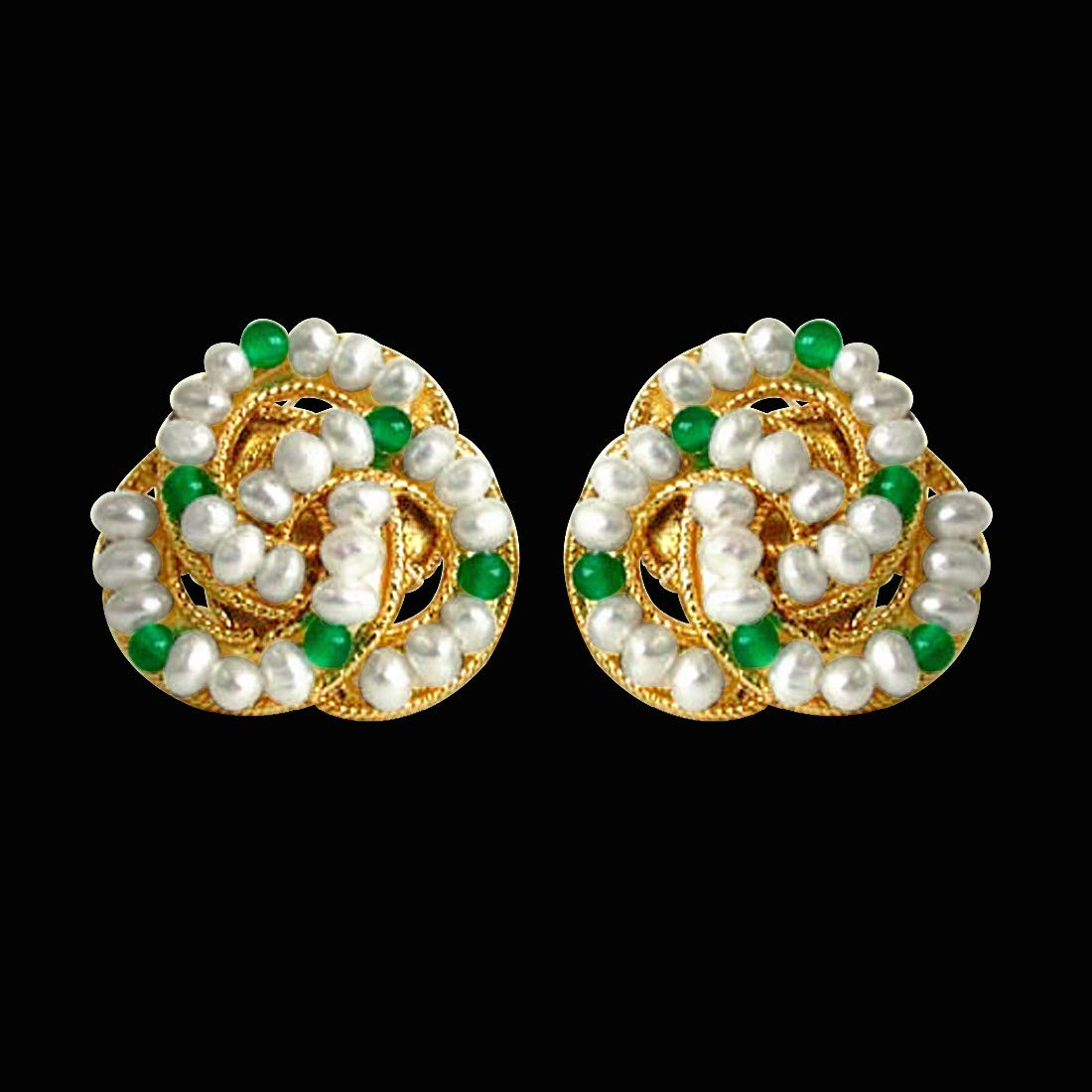 Green Fairy Queen - Real Freshwater Pearl, Green Onyx & Gold Plated Stud Earrings for Women (SE45)