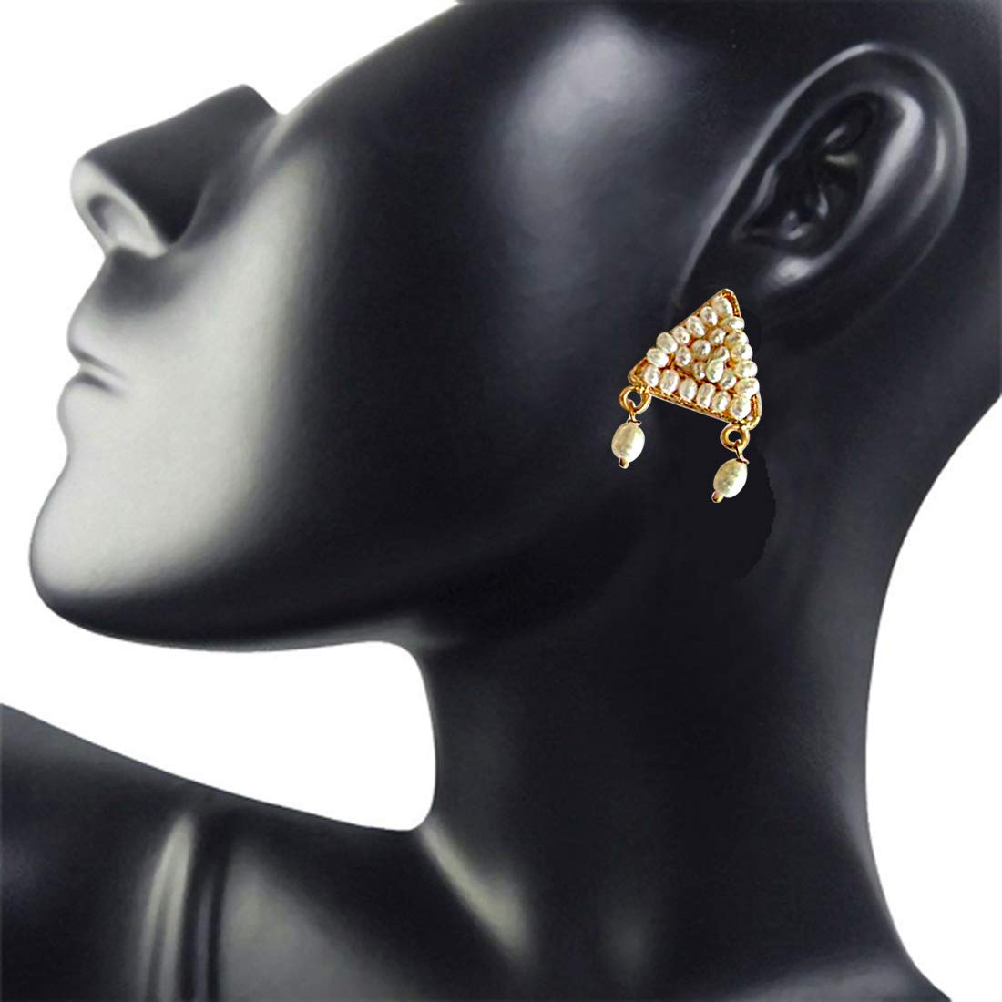 Perfect Pearl Beauty - Real Freshwater Pearl & Gold Plated Triangular Shaped Earring for Women (SE47)