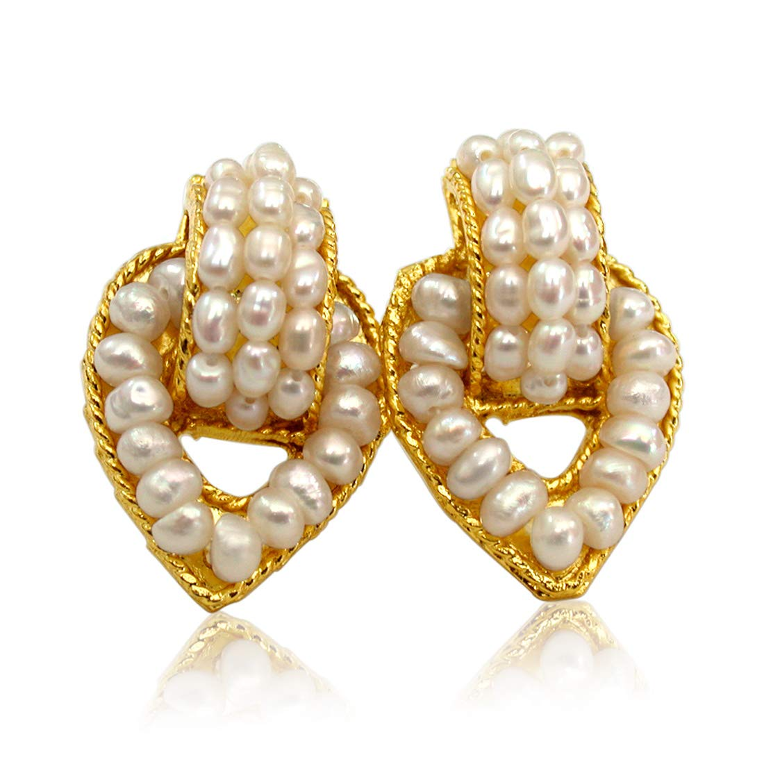 Pearl Charmer - Real Freshwater Pearl & Gold Plated Earrings for Women (SE50)