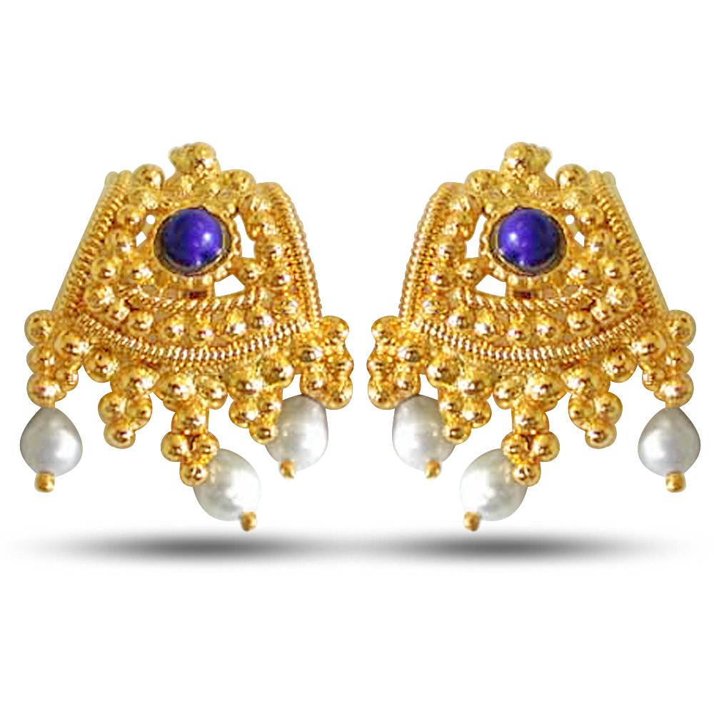 Classic Ethnic - Temple Design Freshwater Pearl, Blue Lapiz & Gold Plated Earrings for Women (SE51A)