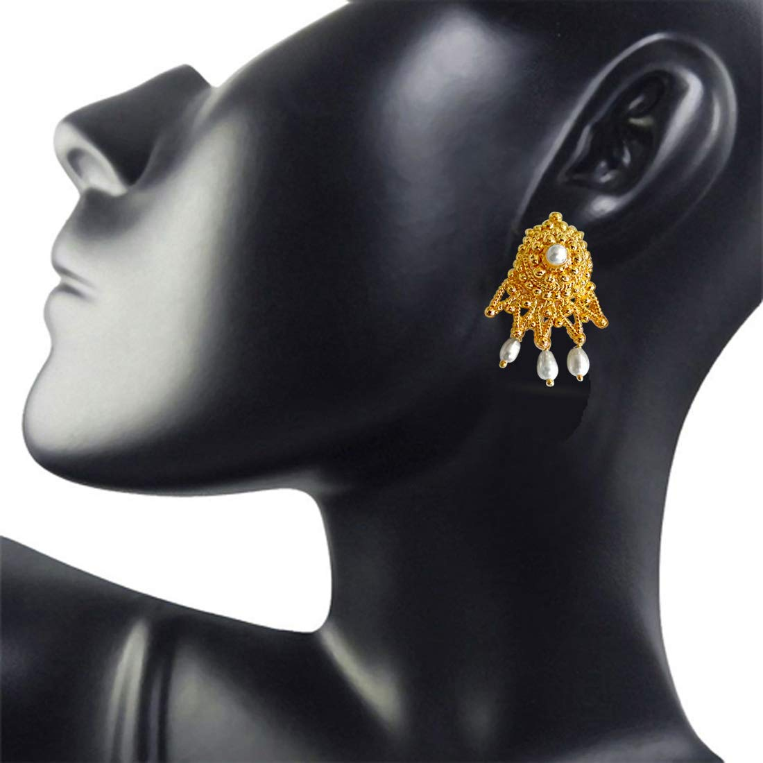 Cute Cupid - Dangling Rice Pearl & Gold Plated Drop Shaped Earrings for Women (SE56)