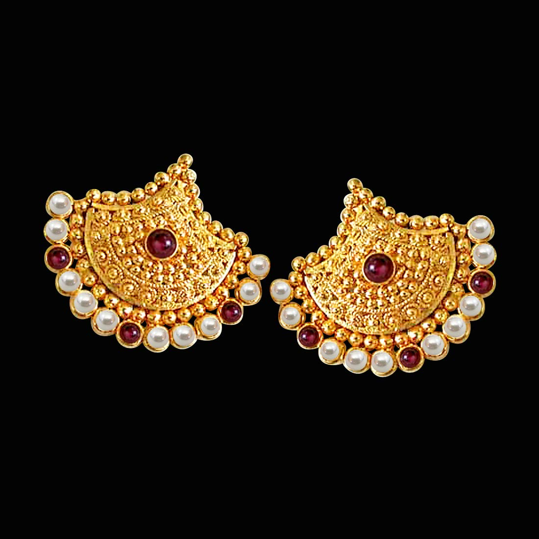 Pretty Lady's Pearl - Real Freshwater Pearl & Red Garnet Beads Geometrical Shaped Earring for Women (SE59)