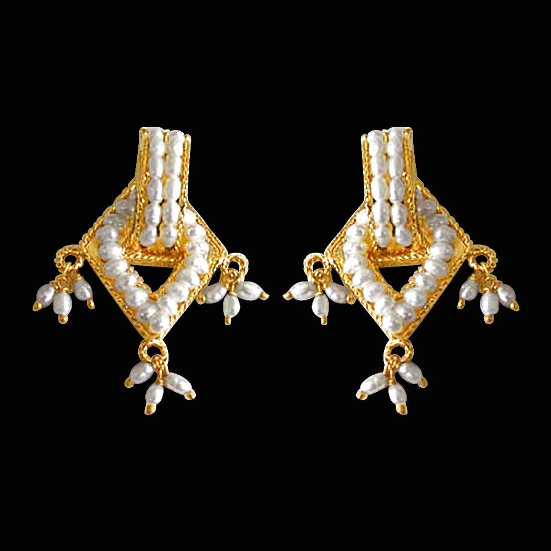 Elegant Earthy Pearl - Real Freshwater Pearl Geometrical Shaped Earring for Women (SE60)