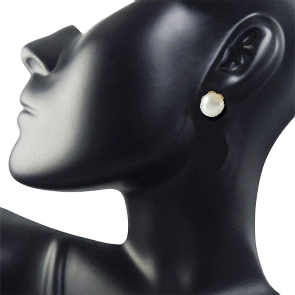 Eternal Feelings - Real Freshwater Button Pearl & Gold Plated Stud Earrings for Women (SE65)