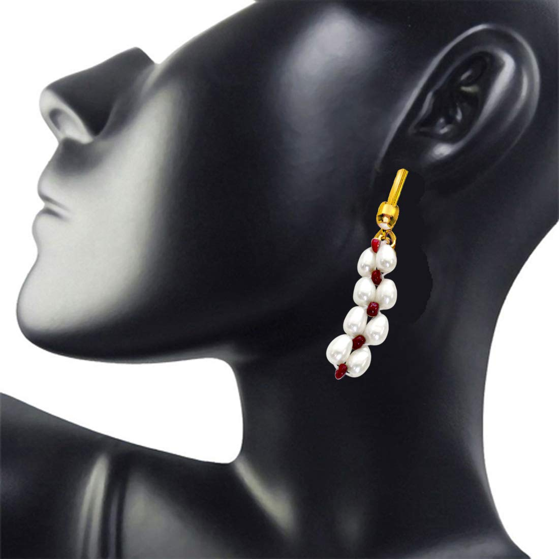 Pearl Ruby Ecstasy - Real Rice Pearl & Red Ruby Beads Hanging Earrings for Women (SE70)