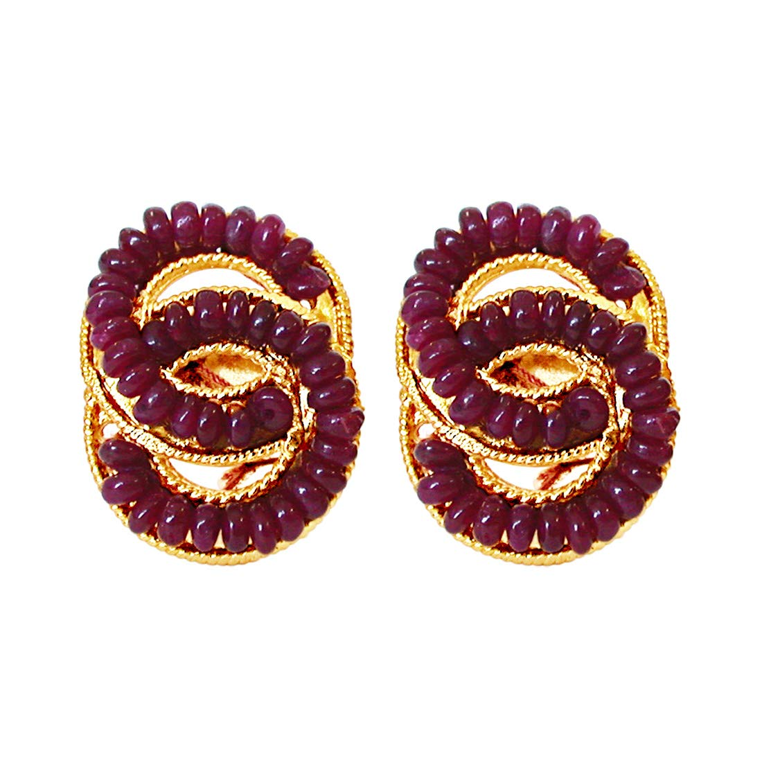 She's Mine Forever - Real Ruby Beads & Gold Plated Interlocked Earrings for Women (SE75)
